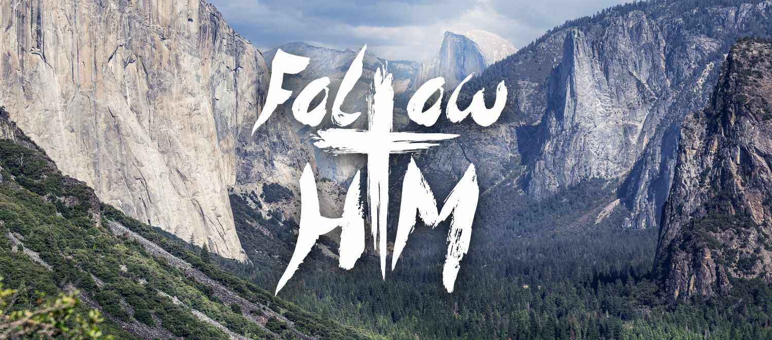 Follow Him Ministries logo with mountains in the background